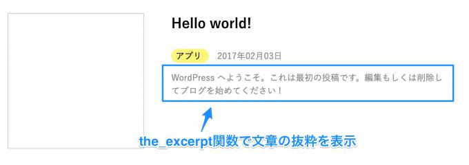 WordPressの記事の冒頭部分をthe_excerpt関数で出力する