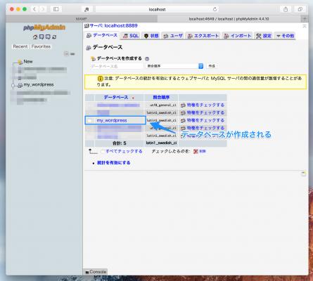 phpMyAdminでのデータベースの確認
