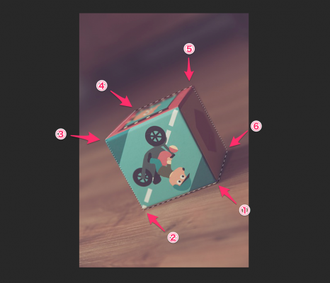 フォトショップの多角形選択ツールでダイスの角を順番に指定