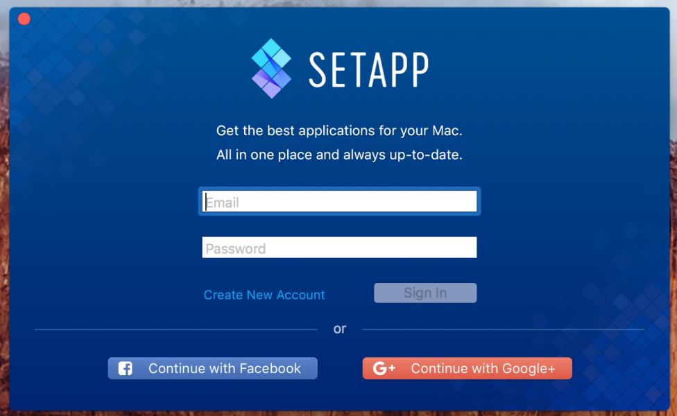 Macの人気アプリが定額で使えるサービスAPPSETのログイン画面