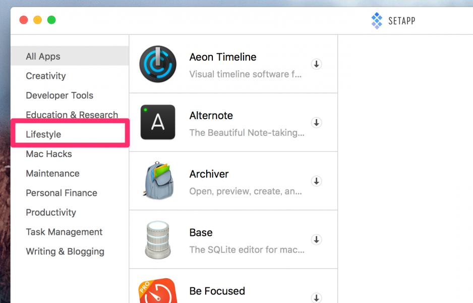 Macの人気アプリが定額で使えるサービスAPPSETでカテゴリーを選択する