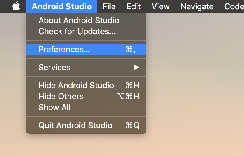 android studio preference