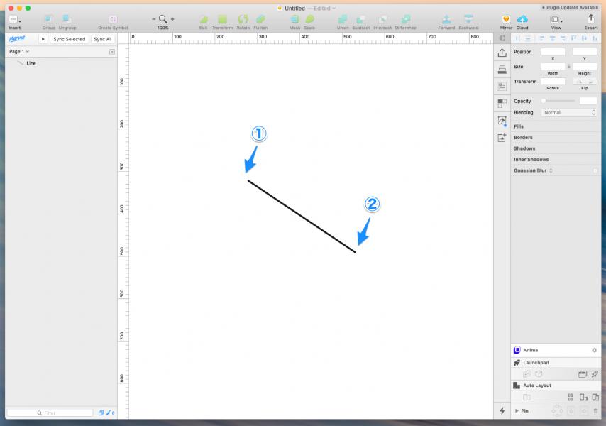 sketchで直線ツールを引いてみる